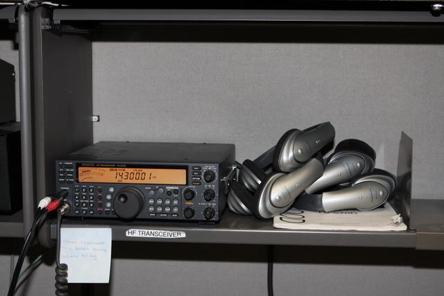 HF Radio and wireless headphones.